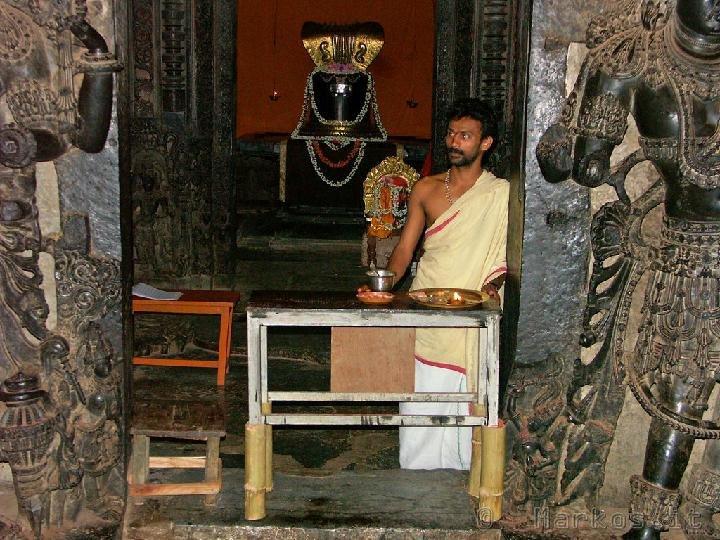 Halebid,  Bramino nel tempio di Hoysaleswara