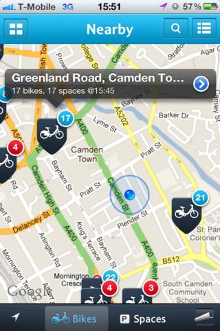 Una schermata dell'applicazione Bike Barklays