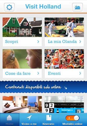 Una schermata dell'applicazione Visit Holland App