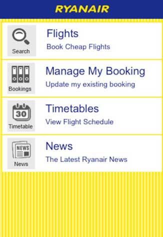 Una schermata dell'app Ryanair per la prenotazione e le info sui voli