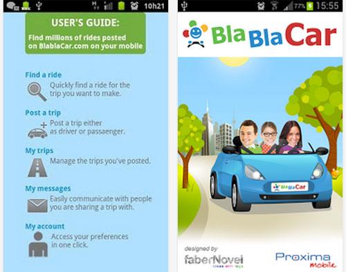 una schermata della App BlaBlaCar
