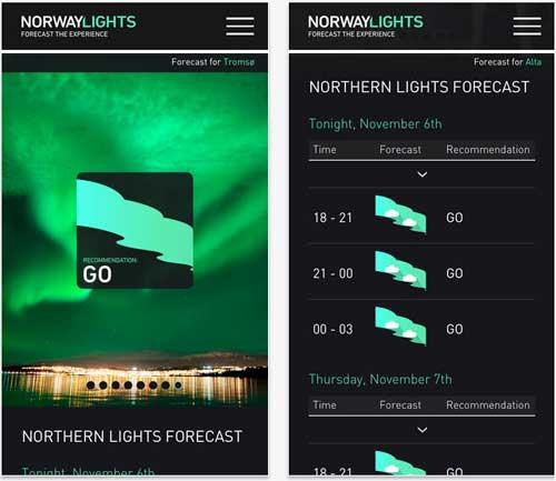 L'app di Visit Norway per trovare le aurore boreali