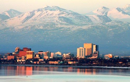 alaska Anchorage on an April evening